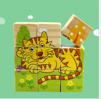 Wholesale 9 Set Kid Toys Cartoon Animal Fruit Puzzle Wooden Toys Wisdom Jigsaw Early Educational Sides D Puzzles Cubes Hexahedral Jigsaw Puzzle