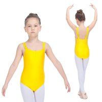 Wholesale Spandex Leotard Kids - Ballet Kids Dancing Leotards Nylon Lycra Double Straps Camisole for Girls Gymnastics Full Sizes 21 Colors Available