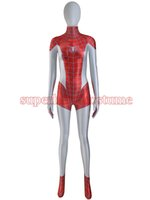 Wholesale Hot Superhero Costumes - Red White Spiderman Costume Woman Female Spider-man Superhero Costume 3D Printed Fullbody Zentai Suit Hot Sale Free Shipping