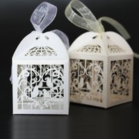 Wholesale Ivory Wedding Candy Boxes - Hot 100 PCS Love Bird Boxes For Wedding Party Favor Candy Gift Box With Ribbon 2016 Hot