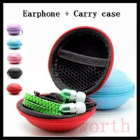 Wholesale Iphone Microphone Cases - Christmas Gift 3.5mm Stereo Universal In-Ear Metal Zipper Earphones earbuds With Mic Case Storage Bag For iPhone Samsung HTC SONY LG Tone