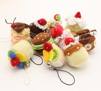 Sweet 10pcs 4CM Approx. MIX Designs Little Mini Cakes Peluche farcie DOLL TOY; String Pendant Cake Plush TOY Gift DOLL