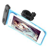 motorradhalterung iphone fall großhandel-Motorrad Fahrrad Fahrrad Lenkerhalter Telefonhalter mit wasserdichter Tasche Fall Deckung für iphone 7 für Samsung S8 Handy
