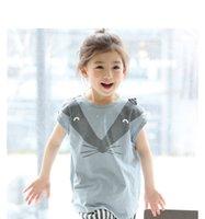 Wholesale Korean Suits For Girls - Korean New Girls Outfits Sets Cute Cartoon Fox Shirt Tops + Vertical Striped Shorts Pants 2pcs Set Suits For Princess Girl A6244