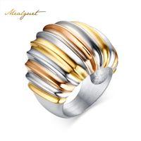 goldreinheit großhandel-Meaeguet Edelstahl Frauen Reinheit Hochzeit Ringe Gold-Farbe Übertrieben Ringe Party Schmuck RC-083