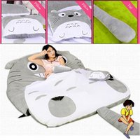 Wholesale Memory Mattress Pad - 2017 High quality Totoro Double Bed Soft Cushion Sleeping Bag Huge Cute Cartoon Bed Memory Foam Mattress Cover Pad Bedding Set Protector
