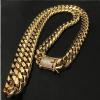 verschluss für edelstahl halskette großhandel-14mm Mens Cuban Miami Link Halskette Edelstahl Strass Verschluss Iced Out Gold Silber Hip Hop Kette Halskette
