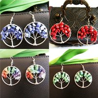 Wholesale Tree Of Life Pendant Amethyst Rose Crystal Earrings Gemstone Chakra Jewelry Mothers Day Gifts Color DIY Jewelry Accessory B165S
