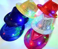 Wholesale Cap Led Glow Lights - Led Hat LED Unisex Lighted Up Hat Glow Club Party Baseball Hip-Hop Jazz Dance Led Llights
