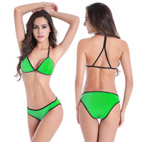 Wholesale Summer Beach Bathing Suit Sexybody Women s Halter Padded Hollow Out High Waisted Bikini Solid Color Swimsuits Swimwear