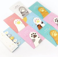 Wholesale Cute Cat Bookmarks - 2017 New Cute cat sticky note memo stickers Bookmark Stationery School Office supplies material
