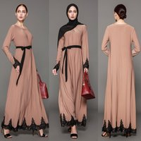 Wholesale Xl Muslim Woman Clothes - 2017 Women Muslim Long Dresses Vintage Kaftan Abaya Jilbab Islamic Khaki Muslim Clothing Women Long Sleeve Maxi Dress Vestidos FS2515
