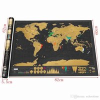Wholesale Vinyl Tube - 70pcs Deluxe Scratch World Map Paper Around the World Scratchable Travel Map Novelty Gift Home Decor Wall Sticker 82.5x59.5cm with tube