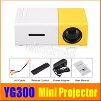 Wholesale av input laptop resale online - Cheapest YG300 Portable LED Projector Cinema Theater PC Laptop USB SD AV HDMI Input Mini Pocket Projector with retail package Free DHL