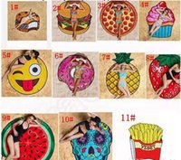 Wholesale 11 Design Round Polyester Beach Shower Towel Blanket Yoga Towel Skull Ice Cream Strawberry Smiley Emoji Pineapple Pie Watermelon Towel