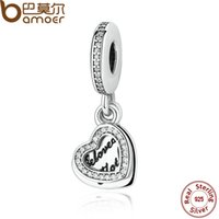 Atacado- BAMOER REAL 925 Prata Esterlina BELOVED MOTHER HEART PENDANT CHARM Fit Encantos Pulseira Feminina Jóia Fina PAS301