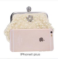 Wholesale Occasion Clutch Bags - In Stock Bling Bling Black White Beaded Pearls Clutches Double Handle Bridal Hand Bags Evening Party Prom Crystals Special Occasion Bags