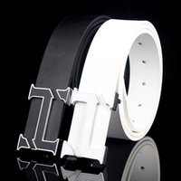 Wholesale Plain Silver Belt Buckle - Letter T Alloy Plain Button Belt For Men High Quality 100% Genuine Leather Male Luxury Business Black While Belts European Style