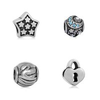 Wholesale Moon Shaped Beads - comejewelry Five Star Lock Swan Moon Big Hole Beads Fit Pandora Charms Star Shape Heart DIY Beads for Bracelets Jewelry Making