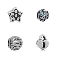 Bracelets De Charme De Cygne Pas Cher-Jeu de bijoux Five Star Lock Swan Moon Big Hole Bead Fit Pandora Charms Star Shape Heart DIY Perles pour Bracelets Jewelry Making