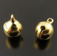 jingle perlen großhandel-Freies Verschiffen, 6mm Gold Jingle Bell baumeln Charme mit Schleifen-kleinen Bell-passenden Festival-Schmucksache-Anhängercharmekornen