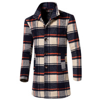 Wholesale Mens Slim Fit Pea Coats - Wholesale- New Pea Coat Men 2015 Winter Fashion Plaid Design Mens Slim Fit Single Breasted Wool Trench Coat Casual Overcoat Manteau Homme