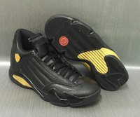 Wholesale Basketball Package - High Quality Retro 14 DMP Basketball Shoes Men 14s Black Gold Deigning Moments Package 98 Sneakers With Shoes Box