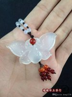 Wholesale Natural Jade Butterfly - Natural white jade pulp beads sweater necklace pendant pendant agate jade jade butterfly accessories send certificate