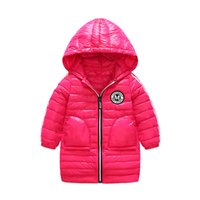 Wholesale Pink Small Girls Model - Winter new girl children small and small children warm light section models long section hooded white duck down jacket