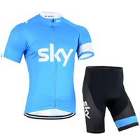 Wholesale Sky Cycling Jersey Blue - 2017 sky Team cycling Jersey maillot ciclismo Tour de france men cycling clothing summer bicycle clothes bike short sleeve sportwear B2511