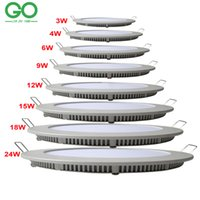 Wholesale Dimmable Ceiling Lamp 3w - LED Round Panel Light Dimmable 3W 4W 6W 9W 12W 15W 18W 24W Surface Ceiling Recessed Downlight SMD2835 Ceiling Lamp Down Light