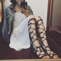 Summer Knee High Gladiator Sandals Peep Toe Woman Cross tied Gladitor Sandals Date Party Summer Shoes Flats