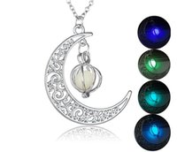Wholesale Fluorescent Stones - Shine Moon Glow In The Dark Necklaces Pumpkin Glowing Luminous Stone Silver Color Fluorescent Chain Necklaces Pendants Jewelry Gifts