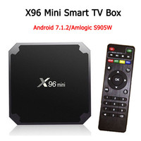 quad core android iptv großhandel-Android TV-Box 2 GB 16 GB X 96 Mini-Amlogic S905W IPTV Android N Beta-Build Quad-Core 100 MB LAN 2,4 G WiFi 4K VP9 HDR10 Smart Media Player