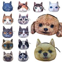 Wholesale Cartoon Coin Pouch - Cat Dog Pet Face Women Coin Wallet Purse Mini Bag Kids Coin Purse Pouch Women Wallets Coins Bags 14 Type