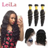 Wholesale hair band extensions - Peruvian Virgin Hair Pre Plucked 3 Bundles With 360 Lace Frontal Loose Wave Natural Hairline Lace Band Loose Wave Human Hair Extensions