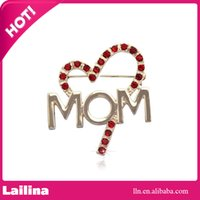 Wholesale Wholesale Mom Pin - 100pcs lot Red Heart-shaped Brooch Pin with MOM Word I Love Mom Valentines Mother's Day Gift for Mother
