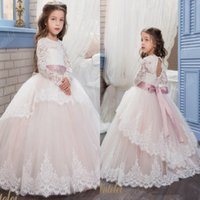 Wholesale Christmas Printing Pictures - Vintage Lace Arabic 2017 Floral Flower Girl Dresses Beaded With A Cloak Child Dresses Beautiful Flower Girl Wedding Dresses