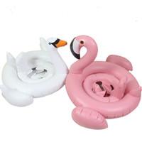 anillo de baño blanco al por mayor-Bebé Inflable Anillo de natación Cisne blanco Flotador de bebé Natación Flamingo niño anillo de natación Bebé sentado XT