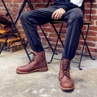 botas de estilo británico casual al por mayor-Nueva llegada Red Fashion Bullock Shoes, hecho a mano Wing Spring Botas de cuero genuino, Casual estilo británico Botas Hombre Y8111