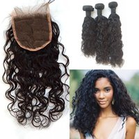 Wholesale chinese virgin hair 4pcs resale online - G EASY Hair Peruvian Human Hair With Closure Virgin Peruvian Water Wave Virgin Lace Closure With Weaves Shedding Free