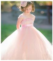 vestidos roxos da menina da flor da fita venda por atacado-Fada vestido de Baile Flor Meninas Vestidos Roxo, Blush, Cinza Claro, Branco, Marfim Meninas Pageant Vestidos com Faixa de Fita Arco Barato