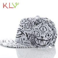 Wholesale Wholesale Flat Bill Hats - Wholesale- KLV chapeu sombrero Fashion Vintage Baseball Flat Bill Hat Hippie Eye Hiphop Adjustable Cap chapeau 17April 19