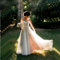 Wholesale Wedding Skirts Flowing - Elegant Bohemian Wedding Dress 2017 Scoop Illusion Neck Lace Appliqued A Line Flowing Tulle Rustic Forest 2016 Wedding Dresses