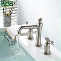 Wholesale Brushed Nickel Widespread Faucet - FLG Luxury Basin Faucet Dual Holder Three-hole Bathroom Faucet Brushed Nickel Torneiras Para Banheiro Quente E Frio 2 Handle 301