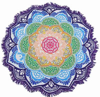 playa multi mat al por mayor-unisex verano fino tapiz Mandala redondo Hippie Pareo boho tapices abrigo chal Throw toalla manta Mat Beach Cover Up bufanda G395