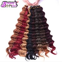 Wholesale loose deep wave braiding hair resale online - loose deep wave Synthetic Crochet Ombre Braids Hair Low Temperature Fiber Hair Black Brown Hair Extension for black women african style