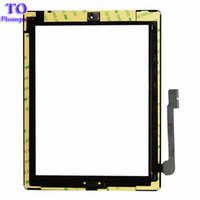 partes de reparo do ipad venda por atacado-Para ipad 2 3 4 touch screen vidro digitador assembléia com botão home cola adesiva adesivo substituição peças de reparo preto / branco