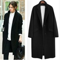 Wholesale Women Winter Coats Uk - UK 2017 Fall   Winter Women Notched lapel Single Button Simple Long Coat ZA style Career Overcoat manteau femme casaco feminino