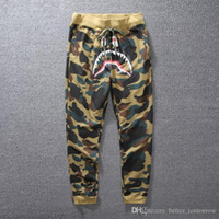 Wholesale Camouflage Sweatpants Women - Goods In Stock Wholesale Tide Brand Shark Camouflage Ankle Banded Jogging Thin Men And Women Pure Cotton Pants sweatpants joggers for 2017